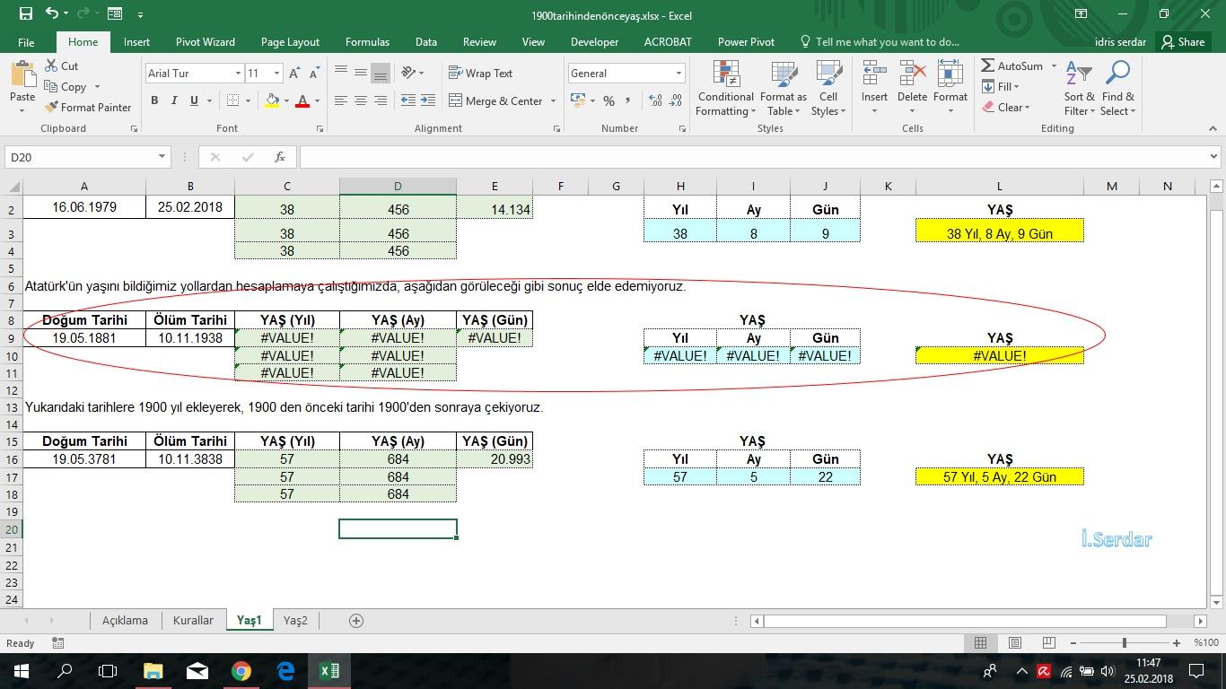 Excelde 111900 Tarihinden önceki Tarihlerle Yaş Hesaplama Excel